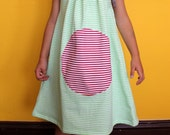 Girl dress, toddler dress, green striped sundress 2/3T 3/4T 5/6Y 7/8Y