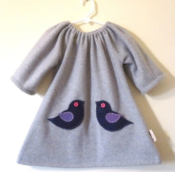 Girl dress, Grey fleece ducky dress with little felt pockets