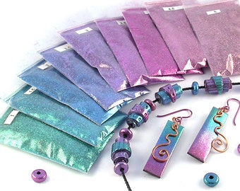 Ultrafine Metallic Glitter Kit for Polymer Clay & Papercrafts - Faux Anodized Metal Look