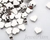 BD919-R // Original Rhodium Plated Heart Metal Bead, 8 Pc