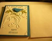 HANDSTAMPED Blue Bird Birthday Card