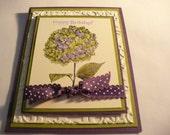 HANDSTAMPED flower birthday card