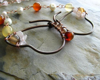 Mariposa - Butterfly - Copper Vintage Style Necklace with Rose Quartz, Amber Agate, Pearls and Swarovski Crystals