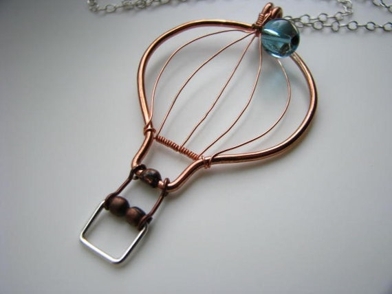 UP - Hot Air Balloon Pendant in Copper with Sterling Silver - Blue Skies