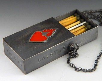 Sacred Fire Sacred Heart - Matchbox - Sterling silver and resin necklace