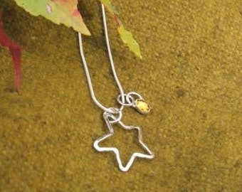 Star with Birthstone Charm Pendant in Fine Silver