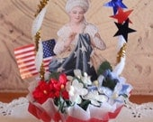 PATRIOTIC Nut Cup- Candy Cup- Vintage Style - red white and blue table decor