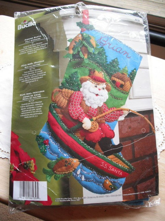 Felt christmas stocking kit fishing santa for Fish christmas stocking