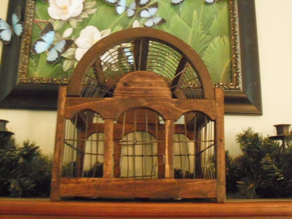 Rustic Wood Birdcage