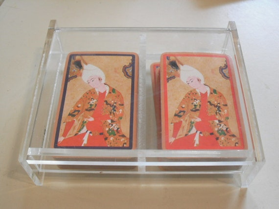 Vintage Lucite Playing Card Holder- 1960s