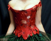 c. 1660 Cavalier Restoration Moliere Corset in a Red Chinese Mimosa Brocade