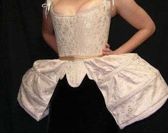 Pannier Pocket Hoop in Dusty Rose Brocade Coutil, Historical Underwear Marie Antoinette 18th century Rococo