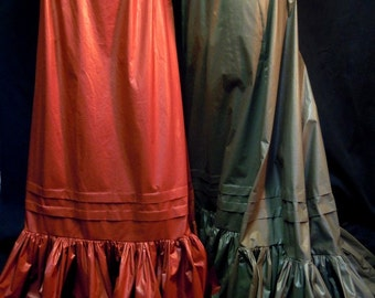 SALE-- Late 19th Century Petticoat in Rust Red and Moss Green