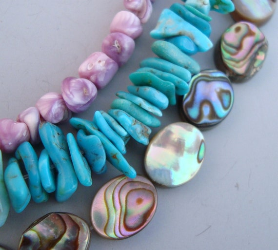 Arizona Turquoise, Abalone Ovals, Cebu Beauty Shells - Three Mini Strands -