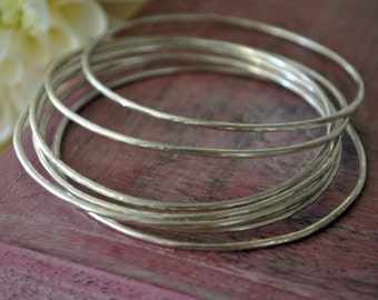 Sterling Silver Stacking Bangle Bracelets, Hammered Sterling Silver Bracelets, Bracelet Set, Bangle Set, Bohemian Jewelry, Gift for Her