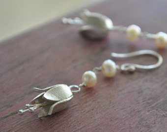 Sterling Silver and Pearl Earrings, Flower Earrings, Tulip Earrings, Dangle Drop Earrings, Floral, Handmade, Bohemian Jewelry, Unique, Gift