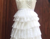 RESERVED FOR SOPHIE A Little Birdie told me so... White Ruffle Dress with Swallows at the Bust