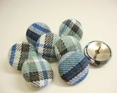 Fabric Covered Thumb Tacks in Blue Plaid