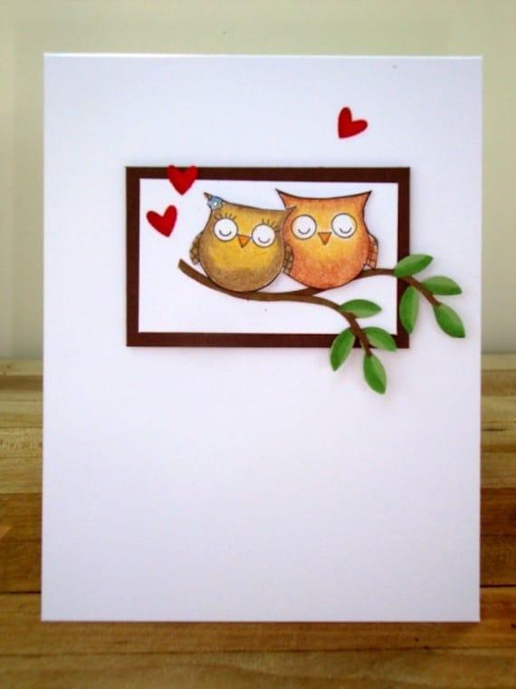 Owls, Owl, Love Birds, Anniversary Card