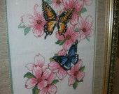 Butterflies and Blossoms Framed Cross Stitch Picture