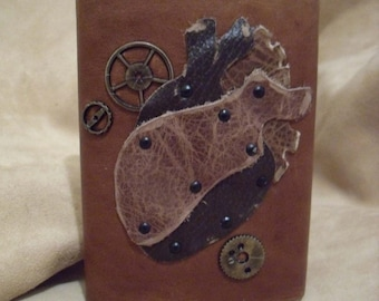 Riveted Heart Flask with Gears PERFECT for your Love