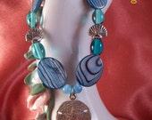 Abalone and Sterling Silver Stretch Bracelet