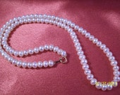 Bridal Perfect Single Strand White Freshwater Pearl Necklace With 10K Gold Clasp