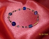 Cobalt Blue Glass/Sterling Silver Link Bracelet