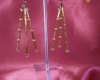 Glass and Brass Spike Earrings