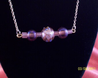 SALE-Pink Rose Lampwork Bead Bar Necklace