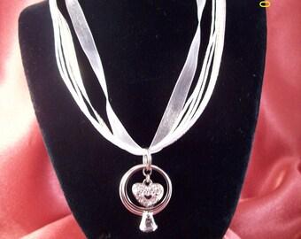 Wedding Ring White Ribbon Necklace