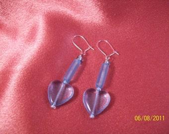 Baby Blue Glass Heart Dangle Earrings