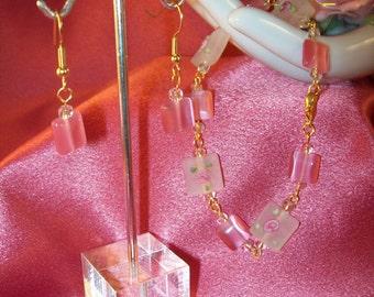 Pink Rosebud Bracelet and Earrings Set