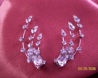 Vintage Astra Rhinestone Spray Earrings