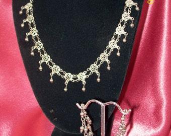 Vintage Lacy Metalwork Demi Parure