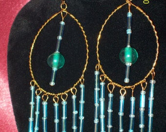 Teal Appeal Large Dangle Earrings