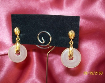Vintage Frosted Disk Earrings