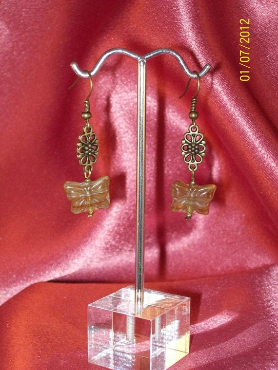 Brassy Brown Sugar Butterfly Dangle Earrings