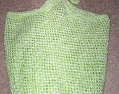 Bag - Crochet Green Market Bag - Tote or Beach Bag - Made of Acrylic Yarn in Ligth Green