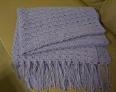 Afghan - Crochet Afghan in Lilac - Afghan with Fringes - Size 33 x 44 inches (84 x 112 cm)