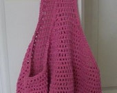 Bag - Crocheted Shopping Bag - Beach Bag - Market Bag - in Dark Pink Cotton Yarn