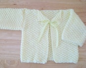 Cardigan - Hand Knitted Cardigan for Infants - No Button - Just to Close with a Bow - Color: Yellow