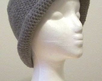 Hat - Crochet Hat with a Roll-Up Brim in Grey