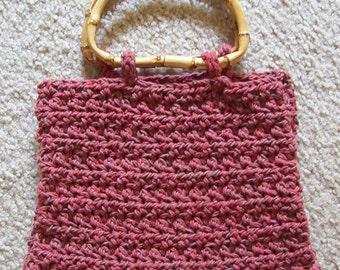 Purse - Crochet Purse with Bamboo Handle - City Purse