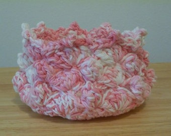 Basket - Crochet Basket in Soft Pastel Pink and White - Great for Easter or other Home Decorations