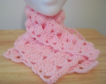 Neckwarmer - Crochet Neckwarmer Made of Acrylic Yarn in Pink