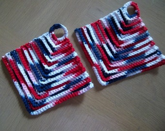 Potholder - Crochet Potholder - Made of Cotton Selfstriping in Red, White and Blue - A Great Decoration of your Kitchen on the 4th of July