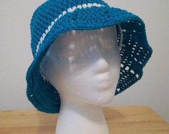 Hat - Crocheted Summer Hat with Brim