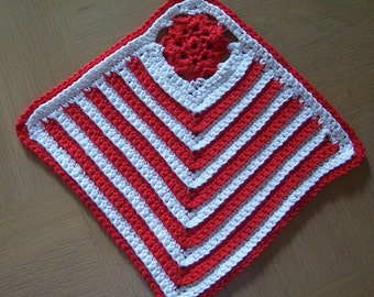 Potholder - Crochet Potholder or Coaster - Crocheted in White and Red Cotton Yarn - Great for Kitchen or Table Decoration