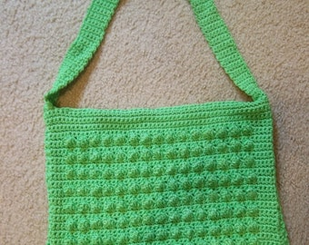 Purse - Crochet Purse with Green Strap - Purse to use to go to School - City Purse